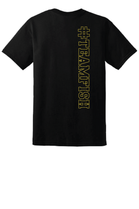 TeamFish Bowling T-Shirt Gold Logo Back