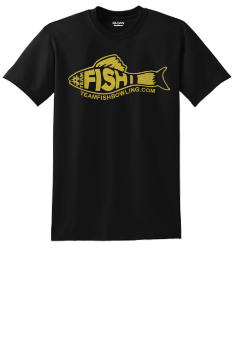 TeamFish Bowling T-Shirt Gold Logo Front