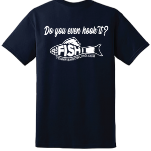 TeamFish Bowling T-Shirt Navy Hook It Logo Back